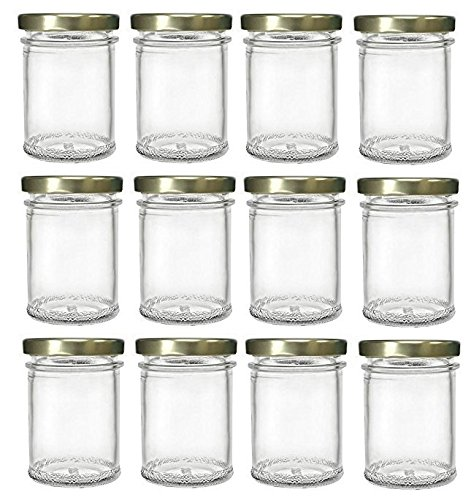 Nakpunar Mason Glass Jars with Gold Lids, 7.5 oz (12 Pieces)