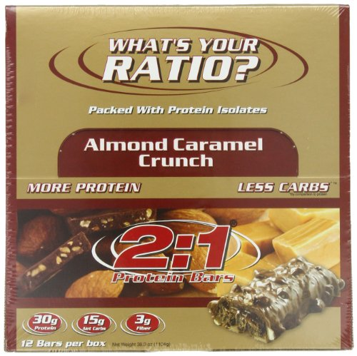 2:1 Protein Bar,  Almond Caramel Crunch, 12-Count Box