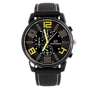 Mandy Men Fashion Motion Racing Form Sport Quartz Hour Wrist Analog Watch yellow by Mandy