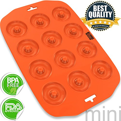 Silicone Mini Donut Pan - 12 Cup 100% Pure Food Grade Silicone Mini Donut Maker Pan - Non-Stick, Flexible, Easy To Clean, Unbreakable - Usable In Oven, Microwave, Dishwasher, Freezer - Heat Resistant Up To 445°F - Lifetime Guarantee