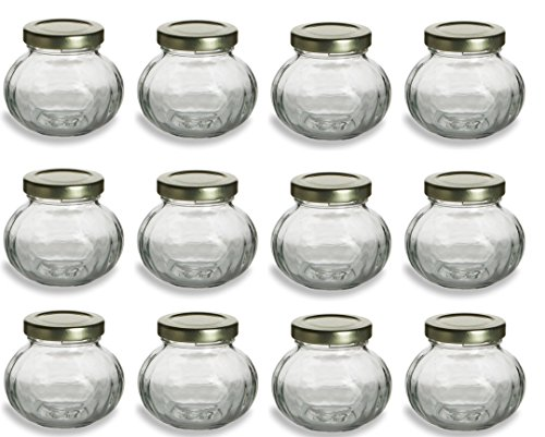 Nakpunar 12 pcs, 4 oz Round Glass Jars for Jam, Honey, Wedding Favors, Shower Favors, Baby Foods, Canning, spices (Empty Baby Food Jars With Lids compare prices)