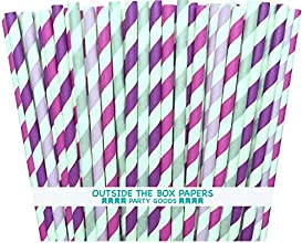 Outside the Box Papers Lilac Lavender Fuchsia and Silver Striped Paper Straws Baby Shower Birthday P