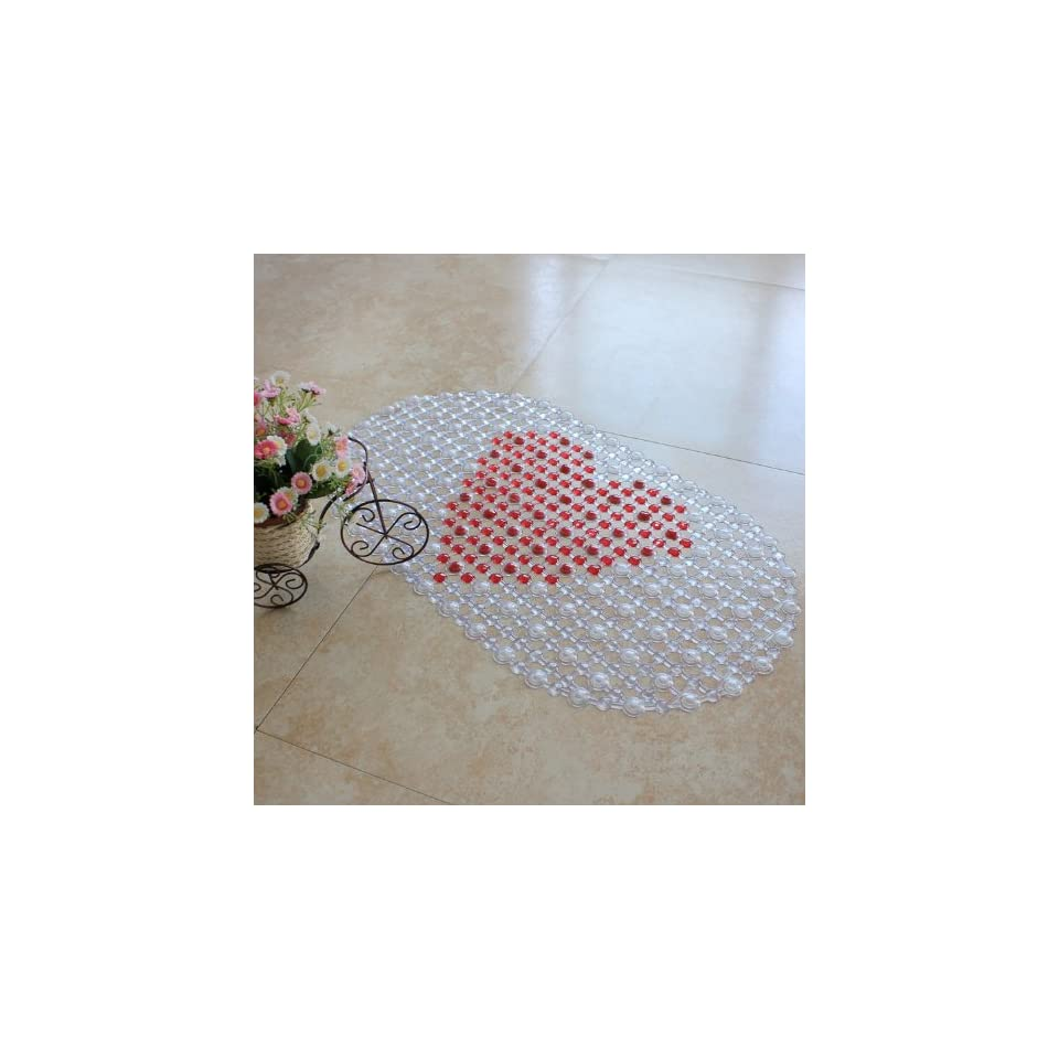 Red Lovely Heart Non Slip Shower Mat PVC Bath Tub Mats Bathroom Mat with 149 Suction Cups, 69 X 39 Cm