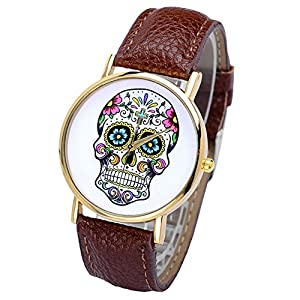 Smartbargain 33mm Women's Golden Day of Dead Sugar Skull Cross Quartz Analog Wrist Watch (Coffee) by Smartbargain