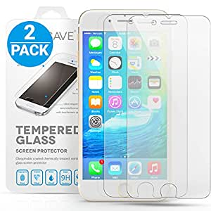 Yousave Accessories iPhone 6S / 6 Crystal Clear 2-Pack of Tempered Glass Screen Protector [Ultra Slim 0.3mm / 9H Hardness Rating] Twin Pack