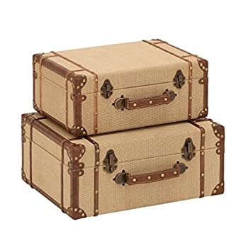 Deco 79 Wood Burlap Suitcase, 17 and 15-Inch, Set of 2
