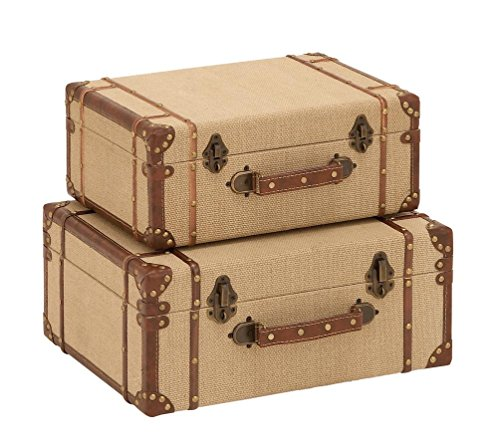 Deco 79 Wood Burlap Suitcase, 17 and 15-Inch, Set of 2 0