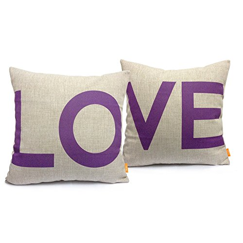 Buy Discount Ojia 18 X 18″ Cotton Linen Decorative Couple Throw Pillow Cover Cushion Case Couple Pillow Case with Gift Card, Set of 2 – Love (Purple)