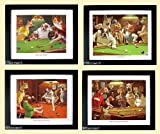 Dogs Playing Pool Art Set Framed Posters by Arthur Sarnoff A+quality