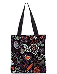 Snoogg Colorful Floral Seamless Pattern In Cartoon Style Seamless Pattern Designer Poly Canvas Tote Bag - B012FUIPUE