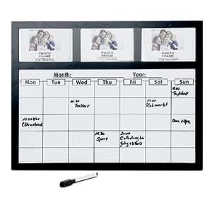tableau m mo magn tique avec calendrier hebdomadaire 3 cadres noir cuisine maison. Black Bedroom Furniture Sets. Home Design Ideas