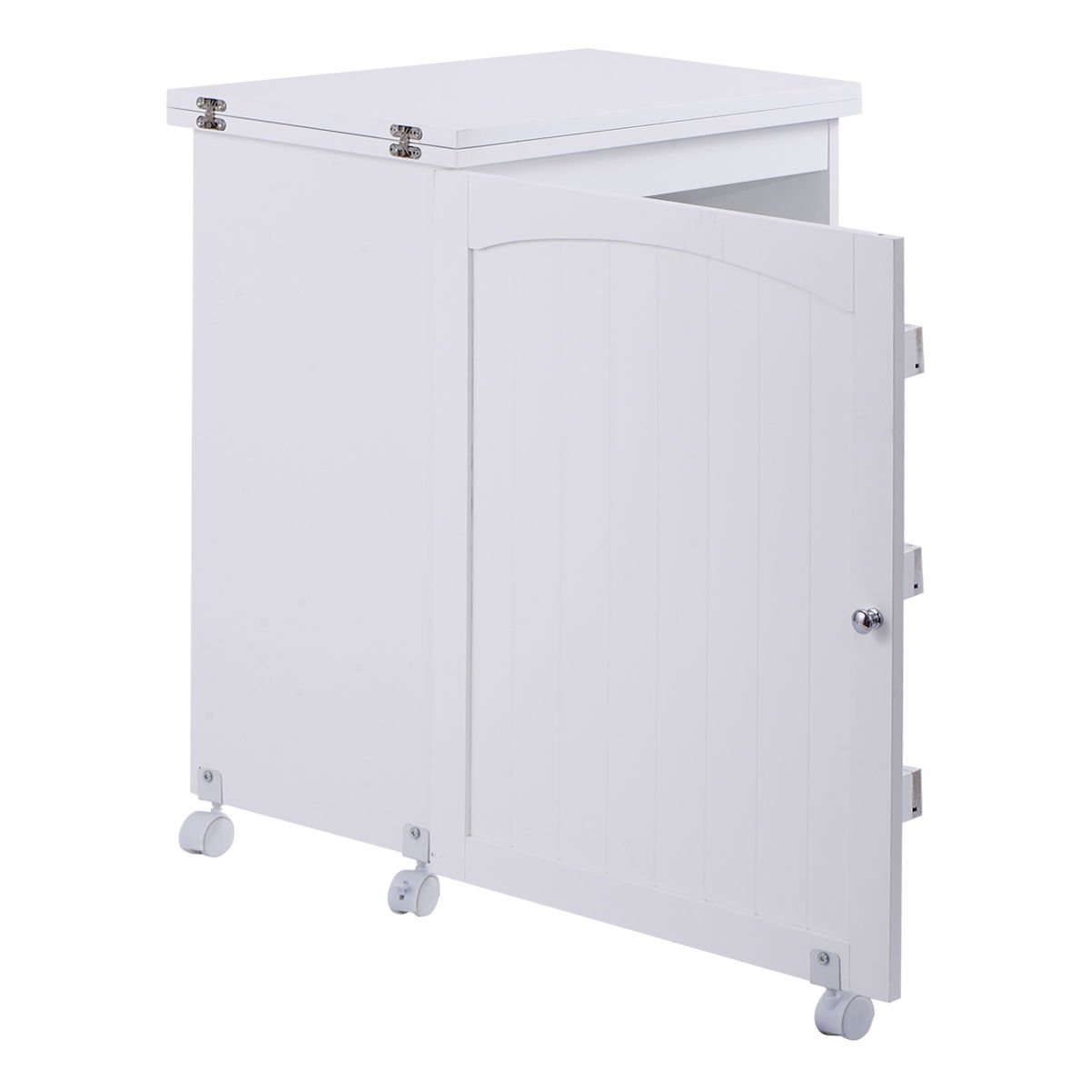 Giantex White Folding Swing Craft Table Shelves Storage Cabinet Home Furniture W/Wheels