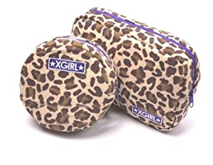 My Sky Unique Dots Pattern Double Layer Cosmetic Bag Black (Leopard Set of 2)