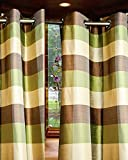 "Gold,Green Brown plaid eyelets/grommet Bedroom window lined curtain panel (52""W X 120""L)"