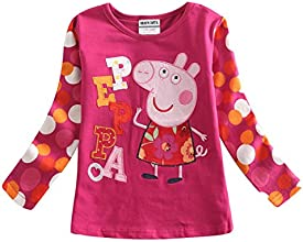 Little Girl Long-Sleeve Peppa Pig Cartoon Cotton T shirts 1-6Y