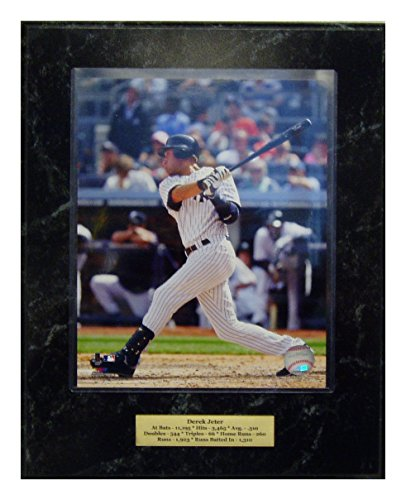 New York Yankees Derek Jeter Career Plaque With Action 8X10 Picture Photograph And A Small Engraved Nameplate With Career Statistics front-430504