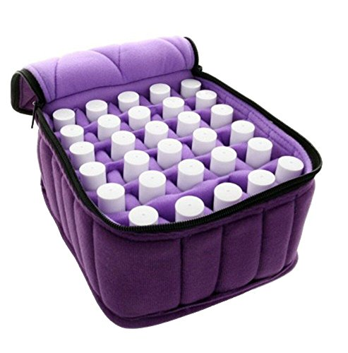 FLYMEI® 30-Bottle Essential Oil Carrying Case - Oil Cases for Essential Oils - Portable Handle Bag for Travel and Home - Sturdy Zippers - Holds 5ml, 10ml, 15ml and Roll-Ons Bottles (Purple) (Doterra Oils Humidifier compare prices)
