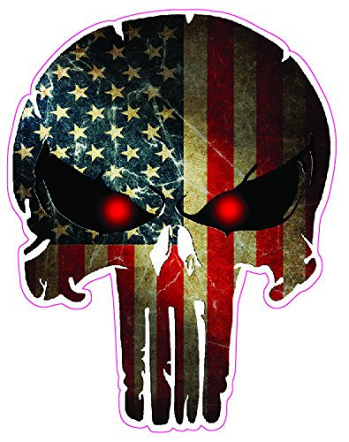 Punisher with American Flag Decal Truck back window size 18