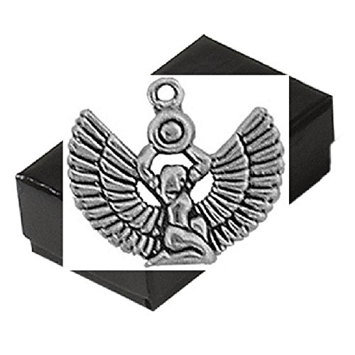 Gift Boxed Isis Charm Sterling Silver Egyptian Jewelry Pendant front-343487