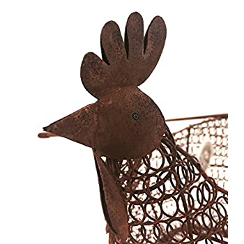COUNTRY VINTAGE CHIC WIRE EGG BASKET HOLDER RUSTIC STORAGE HEN CHICKEN