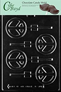 Cybrtrayd M179 Peace Sign Lolly Chocolate Candy Mold with Exclusive Cybrtrayd Copyrighted... by CybrTrayd