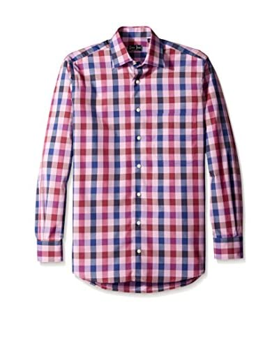 Gitman Blue Men's Large Check Spread Collar Sport Shirt