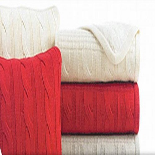 """Martha Stewart Chevron Cable Knit Throw Blanket 50""""X60"""" Red front-936723"""