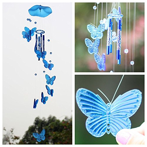 Soledi Creative Crystal Butterfly Mobile Wind Chime Bell Garden Ornament Lucky Gift Yard Garden Living Hanging Decor Art Blue
