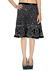 Party Wear Casual Skirt Cotton Black Ethnic Tie Dye For Women By Rajrang