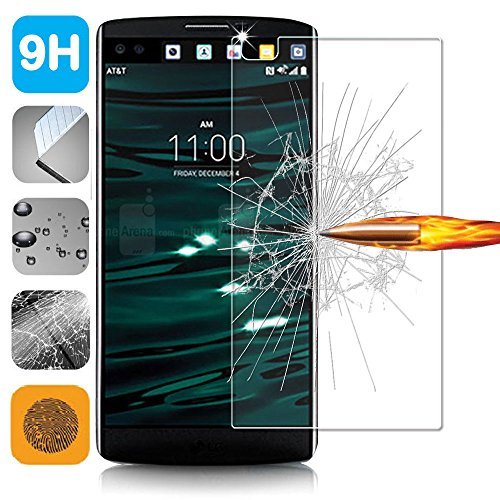 LG V10 Screen Protector, High Quality Tempered Glass Screen Protector - Guard Against Scratches and Drops - Ultra HD Clear With Maximum Touchscreen