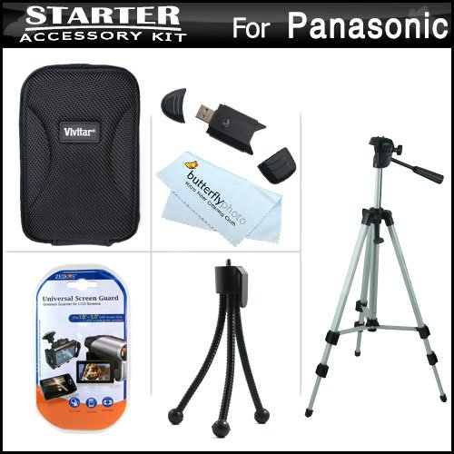 Starter Accessories Kit For Panasonic Lumix Dmc-Sz3, Dmc-F5, Dmc-Xs1, Dmc-Fh10 Compact Digital Camera Includes Deluxe Carrying Case + 50 Tripod With Case + Usb 2.0 Card Reader + Lcd Screen Protectors + Mini Tabletop Tripod + Microfiber Cleaning Cloth