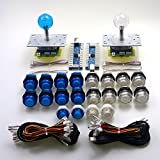 Easyget 2 Player LED Arcade Game DIY Parts PC to Joystick Zero Delay USB Encoder Boards + LED Illuminated Joysticks + LED Illuminated Push Buttons - Illuminated Blue / White Bundle