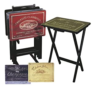 Amazon.com - Cape Craftsman TV Tray Set with Stand, Wine Label