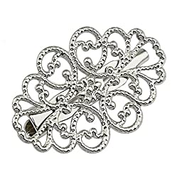 100pcs Silver Tone Plated Charm Flower Pin Brooch 20x32mm Jewelry Findings BP13