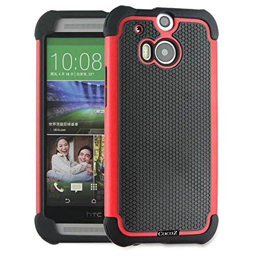 Cocoz® New Htc One M8 Case - Premium Hybrid [Non Slip] Protective Case For Htc One 2014 (Red With Black)