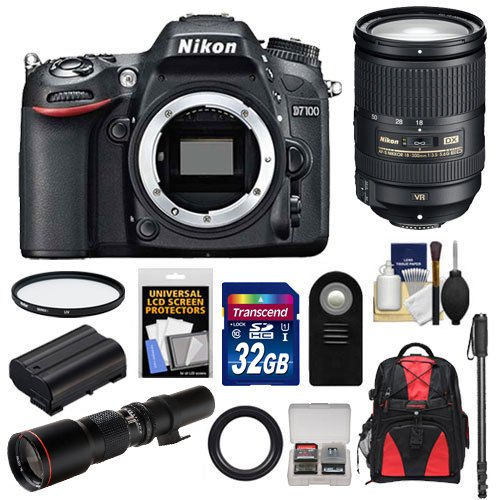 Nikon D7100 Digital Slr Camera Body With 18-300Mm Vr Lens + 500Mm Tele Lens + 32Gb Card + Battery + Backpack + Acc Kit