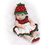 NPKDOLL 11inch renacer de la muñeca de silicona duro Simulación de vinilo resistente al agua de baño 28cm juguete del niño verde presente Red Hat chica con acrílico Ojos Reborn Doll A1ES