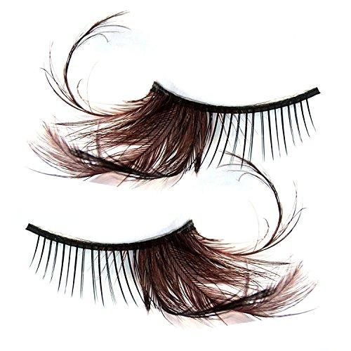 [Feather False eyelashes- Luismia Natural Handmade fashion reusable Makeup Fake eye lashes Extension- Brown Long Cross Eyelash Strips-thick make up Crisscross] (Peacock Eye Makeup)