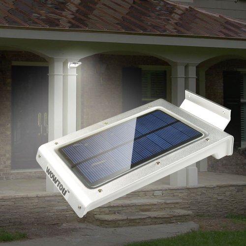 Wowtou(Tm) Light-Conductive Panel Design 46 Pcs Led Light Sources Super Bright Outdoor Corner Home Security High Capacity Battery Weatherproof Wireless Solar Panel Powered Led Motion Sensor Light
