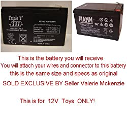 PLEASE READ AD CAREFUL Replacement 12V battery for Kid trax Peg Perego Kid Motionz Mega tredz Motion Tredz Riding Toys You Must Use your own connector By Pure Power Adapters