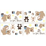 Teddy Bear Chocolate Wall Decal Stickers by Sweet Jojo Designs - Set of 4 Sheets