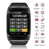 【Bellstone】 240×240 1.54インチ 静電容量式タッチスクリーン搭載 メンズ・レディース 兼用 多機能ブルートゥース スマートウォッチ タッチスクリーン Bluetooth 腕時計ブレスレット ハンズフリー通話・音楽プレーヤー・着信知らせ・時刻表示・置き忘れ防止・録音・目覚しい時計・万歩計多機能腕時計機能付き!iPhone4 5 5S 5C 6、HTC ONE M8 Galaxy S5 S4 などのAndroid、iPhoneに対応可! (ブラック)