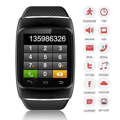 Bellstone 240×240 1.54インチ 静電容量式タッチスクリーン搭載 メンズ・レディース 兼用 多機能ブルートゥース スマートウォッチ タッチスクリーン Bluetooth 腕時計ブレスレット ハンズフリー通話・音楽プレーヤー・着信知らせ・時刻表示・置き忘れ防止・録音・目覚しい時計・万歩計多機能腕時計機能付き!iPhone4 5 5S 5C 6、HTC ONE M8 Galaxy S5 S4 などのAndroid、iPhoneに対応可! (ブラック)