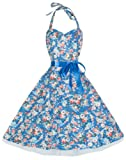 Lindy Bop 'Bonnie' Vintage 1950's Halter Neck Floral Spring Garden Swing Dress