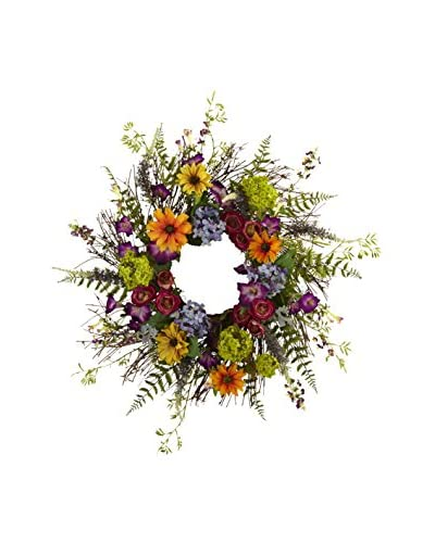 Nearly Natural Spring Garden Wreath With Twig Base, Multi/Green