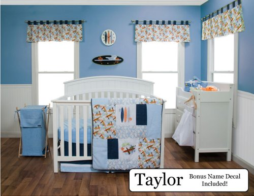 Trend Lab Baby Nursery Bedding Ensemble Set Plus Personalized Name Decal, Surf'S Up, 4Pc Set front-239568