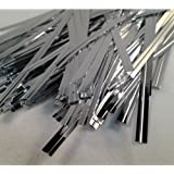 """100 Silver 4"""" (100mm) Metallic Twist Ties / Bag Sealers Coloured Plastic with Wire"""
