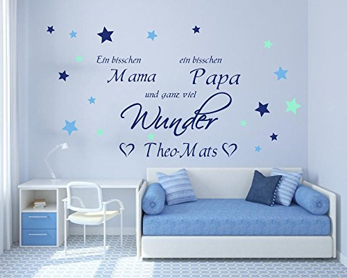 wandtattoo mit namen ein bisschen mama ein bisschen papa und ganz viel wunder 73027 80x58cm. Black Bedroom Furniture Sets. Home Design Ideas