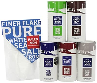 Halen Mon Complete Range of Flavoured Seasalts (Pure, Fine, Celery, Vanilla, Smoked and Spiced) 100 g by Halen Mon The Anglesey Sea Salt Company