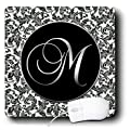 3dRose LLC 8 x 8 x 0.25 Inches Mouse Pad, Letter M Black/White Damask (mp_38762_1)